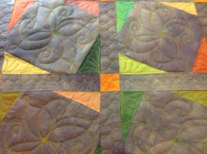 Custom quilting - Twinkle Star quilt with sashing