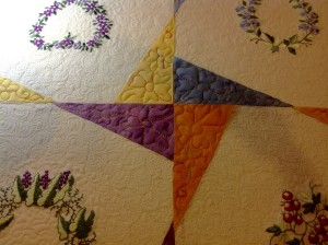 Heirloom quilting - Twinkle Star quilt pattern with embroidery