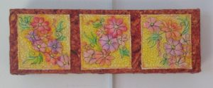 Flower Trail - machine quilted flowers, water color painted, machine quilted background, mounted on stretcher