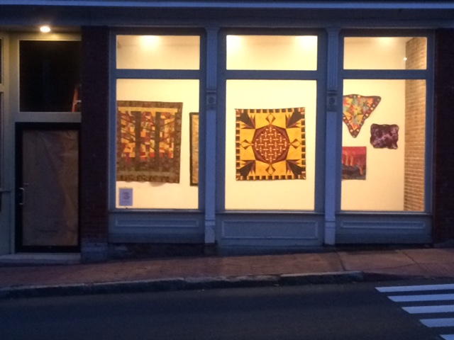 My fiber art and quilts hung in shop window display on Main St. in Stafford Springs, CT - July 2017