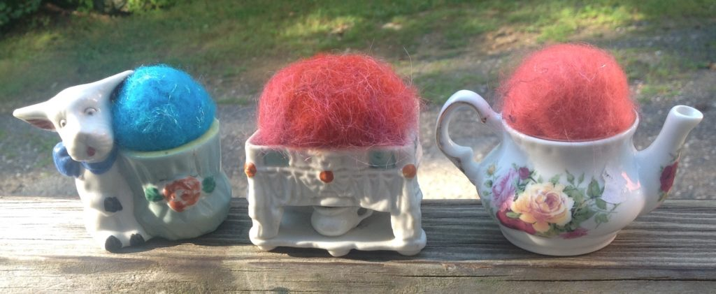 Pincushions- puppy, dry sink & tea pot with 100% wool beads to lubricate your pins while they're not working